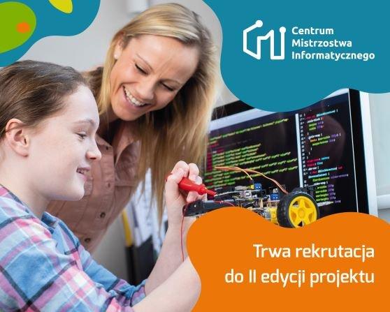 Nauczyciel i uczeń przy komuterze.